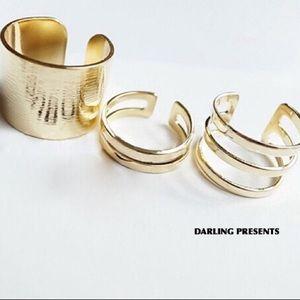 GOLD 3 PIECE MIDI RING SET